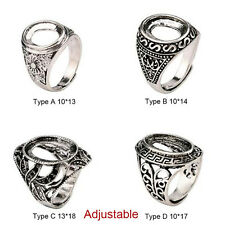 Shiny 925 Tibetan Silver Alloy Bezel Cameo Hollow Womens Adjustable Ring