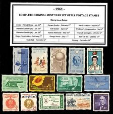 1961 COMPLETE YEAR SET OF VINTAGE MINT, NEVER HINGED, U.S. POSTAGE STAMPS