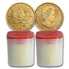 2016 Canada 1 oz Gold Maple Leaf Coins BU (Lot of 20, Two Rolls / Tubes)