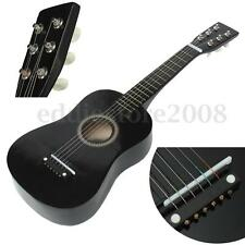Black Wooden 6 String Beginner Guitar Acoustic Musical Instrument w/ Pick + Wire