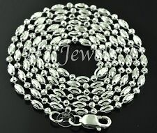 6.00 grams 18k solid white  gold diamond cut bead chain necklace 20 inches #716