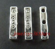 80pcs Tibetan Silver 3-Holes Bars Spacers 16x3mm 10499