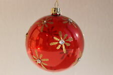 GISELA GRAHAM CHRISTMAS CLEAR RED GLASS BALL WITH GOLD GLITTER DAISIES X 5