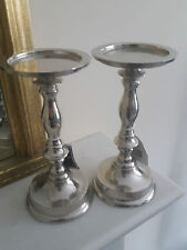 Set of 2 New Nickel Plated Hammered effect Candlestick Candle Holders