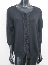 Talbots Women Black Ruffle Polka Dot Button Front Knit Cardigan size 2X Petite