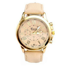Fashion Women's Geneva Date Stainless Steel Leather Quartz Wrist Watch Wholesale