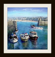 Newquay Harbour Cornwall Original Oil Painting by Robin Beckett BIG 40cm X 40cm