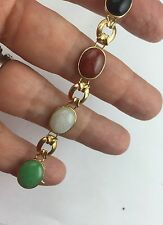 Solid 10K Yellow Gold Jade Onyx Multi Stone Link  Bracelet