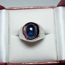 FIT FOR A PRINCE NEW 5.67CT BLUE SAPPHIRE AND 18K MEN'S RING-VALUED AT $7000