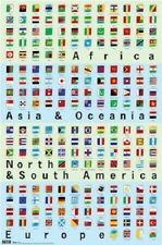 WORLD FLAGS BANNERS BY CONTINENT POSTER CHART PRINT NEW 22X34 FAST FREE SHIP