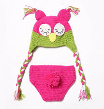 Newborn Boy Girl Baby Cute Crochet Knit Owl Costume Photography Photo Prop Hat