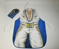 1988 ELVIS PRESLEY Style Vtg Rock Roll King Apron Oven Mitt Mic Sari Fabric Cook