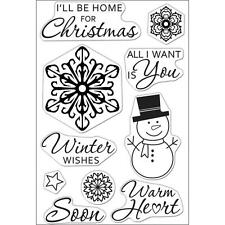 Hero Arts WINTER WISHES  CL647 Clear Cling Stamps Holiday Greetings Snowman 10PC