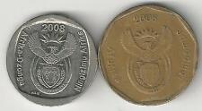 2 DIFFERENT COINS from SOUTH AFRICA - 50 CENTS & 1 RAND (BOTH DATING 2008)