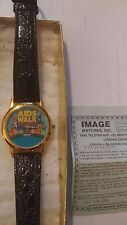 2000 Aids Walk of Atlanta Watch Gold Watch Blue Dial Black Leather Band