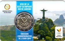NEW !!! Coin Card 2 EURO COMMEMORATIVO BELGIO 2016 Olimpiadi Rio (Francia)