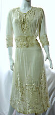 Antique Edwardian lawn or wedding dress, Irish Crochet, embroidery, M-L