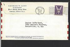 SIDNEY, OHIO COVER, 1943,AD. GEORGE LINN. WEEKLY STAMP NEWS,FLAG FRONT.