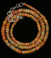 """48 Ctw 1Necklace 2to5mm 17"""" Beads Natural Genuine Ethiopian Welo Fire Opal 88764"""