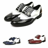 Mens New Patent Brogue Itlian Style Formal Casual Party Dress Shoes UK 6-12