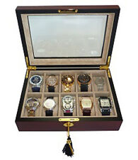 10 EBONY WOOD WALNUT WATCH DISPLAY COLLECTOR GLASS TOP CASE BOX MENS GIFT