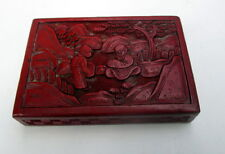 C1900 ANTIQUE CHINESE CARVED CINNABAR LACQUER BOX W FIGURES IN OUTDOOR SCENE
