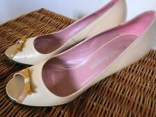RUSSELL & BROMLEY BEIGE  HEELED PEEP TOE SHOES SIZE 7 EXCELLENT CONDITION