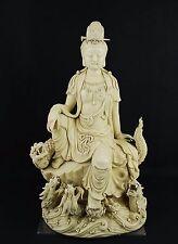 Large China antique Dehua artist signed celadon – Kwan-yin dragon statue cir.190
