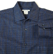 Loro Piana L Cashmere Silk Flannel Heavy Shirt Button Pocket Check Blue ITALY