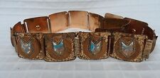 GUC Deco Belt UNIQUE Embossed Floral Copper finish w/ wood & medallions MCM