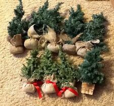 "Lot of 9 Miniature Christmas Trees,, 12"" & 17"", burlap bag bases Snow Village"