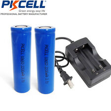 2PC 18650 Rechargeable Li-ion Vape Batteries Flat Top with 18650 Charger W/O PCB