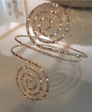 NEW! Gold Tone Super Fun Swirl Upper Arm Cuff Bracelet Scroll SPARKLY!