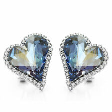 Classy Sparkly Swarovski Element Silver Blue Crystal Heart Stud Earrings Jewelry