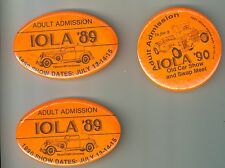 3 Adult Admission Pin Back Buttons Iola WI Car Show