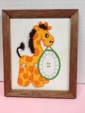Vintage Sewn Woven Stitchery Pictures Giraffe Place to Insert Picture Very Cute