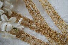 1y VINTAGE GOLD METALLIC LOOP LACE GIMP BRAID TRIM PASSEMENTERIE RIBBON DRESS