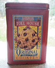 VINTAGE RED NESTLE TOLL HOUSE ORIGINAL RECIPE COOKIES & MORSELS TIN MULTI COLOR
