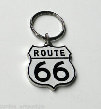 ROUTE 66 METAL AND ENAMEL KEYRING KEY RING KEY CHAIN 1.5 INCHES
