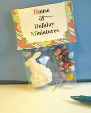 Miniature Easter White Chocolate Bunny with 13 Colored Eggs : Dollhouse E1344