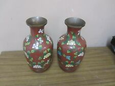 "Pair @ 2  Vintage Chinese Cloisonne Vase Floral 8"" Enamel on Copper"