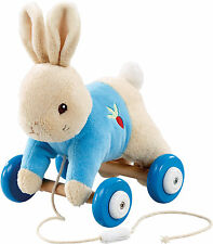 Rainbow Designs PETER RABBIT PLUSH/WOOD PULL ALONG TOY Baby/Toddler Gift BN