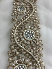 Fancy Diamante Beaded Indian Lace Trim Ethnic Ribbon Craft Sari Border 1 Meter