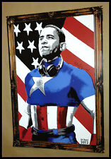 MR BRAINWASH BARACK OBAMA CAPTAIN AMERICA LITHOGRAPH POSTER PRINT Shepard Fairey