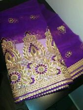 1yd purple sequin net Mesh fabric embroidered lace applique Costume Fancy indian