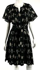 DEREK LAM Black & Ivory Striated Print Cotton Belted Short-Sleeve Dress 44