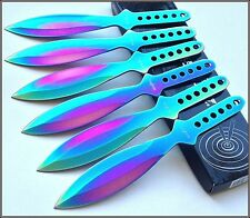 9 INCH OVERALL PERFECT POINT RAINBOW THROWING KNIVES W/ NYLON SHEATH - 6 PCS SET