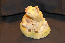 Aynsley Master Craft Hand Painted Pig and Piglets Figurine 1984 - Collectible