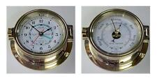 Nautical Tide Clock & Barometer Set,  Polished Brass