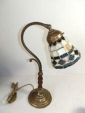 Lampada da tavolo in ottone brunito con vetro Tiffany abat-jour camera da letto